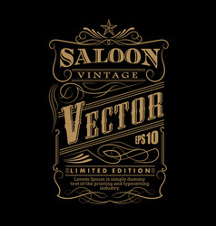 western hand drawn frame label border vintage vector image