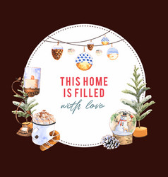 Winter home wreath design with candle tree vector