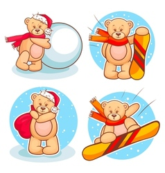 Winter teddy bears set vector