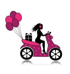 woman on a motorcycle driven by a gift and balloon vector image
