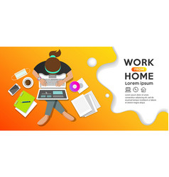Work from home concept woman sitting vector