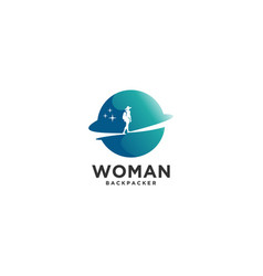 world woman backpacker vector image