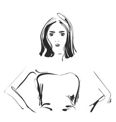a sketch of a young woman fashion portrait vector image vector image