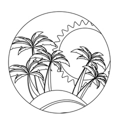 circular shape with silhouette background beach vector image