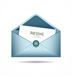 Blue Envelope letter Merry Christmas white card vector image vector image