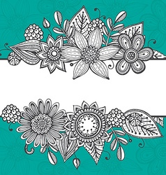 Greeting card template with hand drawn doodle vector image vector image