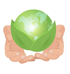 Hand Hold Green Earth Leaf vector image vector image