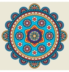 Indian doodle mehendi colored mandala vector image vector image