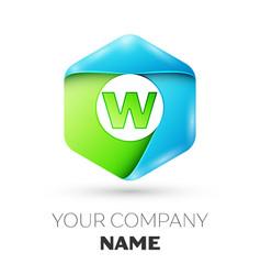 Letter w logo symbol in colorful hexagonal vector
