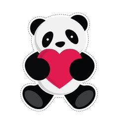 Panda holding heart vector image vector image