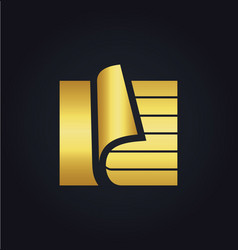 paper document data storage gold logo vector image vector image