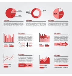 Set of Infographics Elements Red Colors vector image vector image