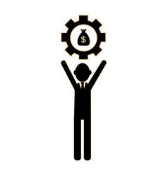 silhouette executive man holding a gear wheel vector image vector image