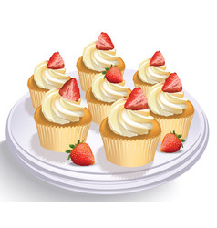 strawberry cupcakes on a white table summer vector image vector image