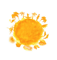 tropical summer party banner orange watercolor vector image vector image