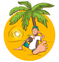 beach holidays young man sits under palm tree and vector image vector image