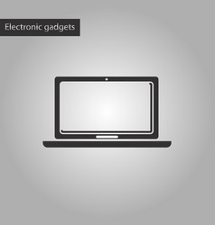 black and white style icon laptop vector image