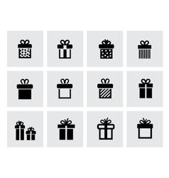 black gift icon set on white vector image