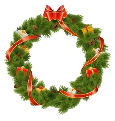 Christmas Wreath with Gifts vector image