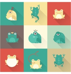 Frog characters flat vector image