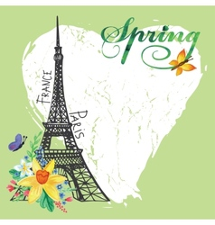 Paris vintage spring cardEiffel towerWatercolor vector image vector image