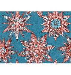 Seamless pattern with indian ornament of the suns vector image