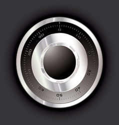 silver metal safe dial with black background vector image vector image