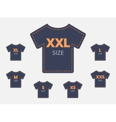 Size Clothing T-shirt Stickers Set vector image
