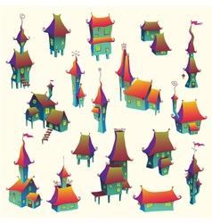 Cartoon old town set vector image