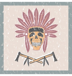 grunge Native American chief skull in tribal vector image vector image