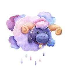 Sad lamb as a cloud vector image