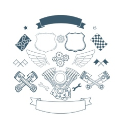 Set of biker label elements vector image