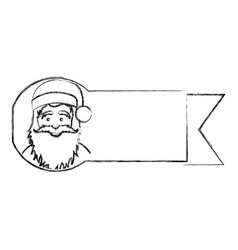 silhouette blurred ribbon with face cartoon santa vector image vector image