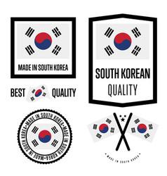 South korea quality label set for goods vector