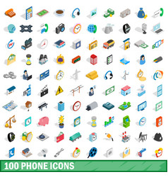 100 phone icons set isometric 3d style vector