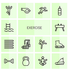 14 exercise icons vector