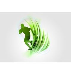 abstract white green runner vector image