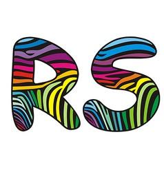 Background skin zebra shaped letter R S vector