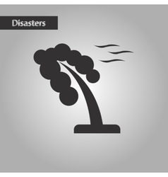 Black and white style strong wind tree vector