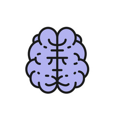 Brain mind intelligence human organ flat color vector