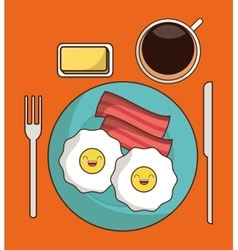 Breakfast design Kawaii egg icon graphic vector