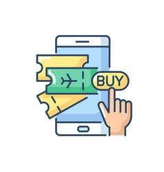 Buying tickets online rgb color icon vector