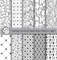 cartoon animal seamless patterns vector image