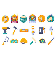 cartoon icons set with tools for hardware store vector image
