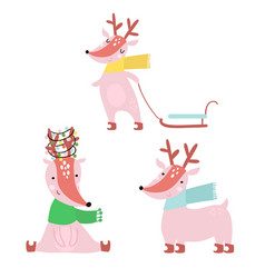 cartoon winter deers set holiday clipart cute vector image