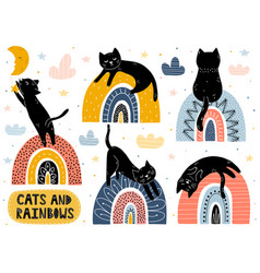 Cats and rainbows collection fantasy isolated vector