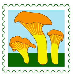 Chanterelle mushrooms stamp vector