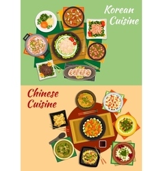 Chinese and korean cuisine dishes icon vector