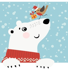 Christmas polar bear vector