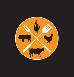 Circular barbecue emblem vector